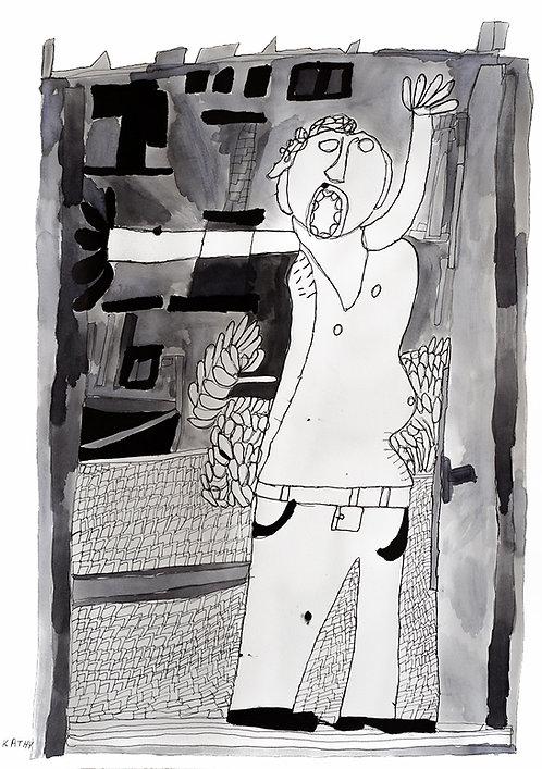 Kathy De Decker - man in bloot bovenlijf voor huis