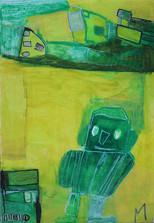 groene robots op gele achtergrond
