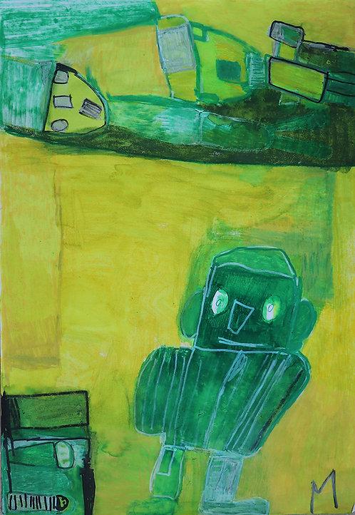 Martine Thielens - groene robots op geel