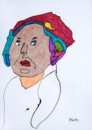 vrouw met kleurrijke hoofdsjaal