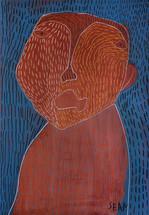 bruin portret op blauwe achtergrond