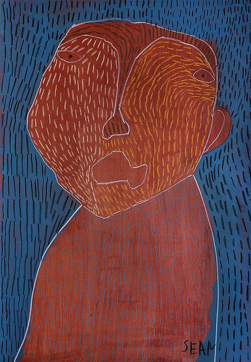 Sylvain Serneels - bruin portret op blauw