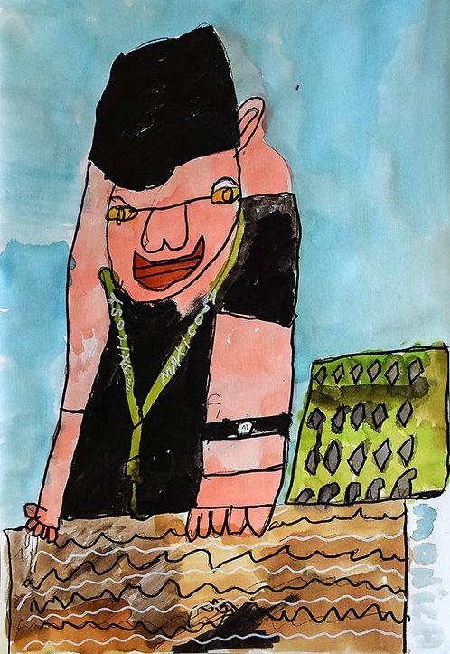 Monica Laroche - zelfportret met groene sleutelhanger