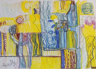 Geel en blauwe compositie