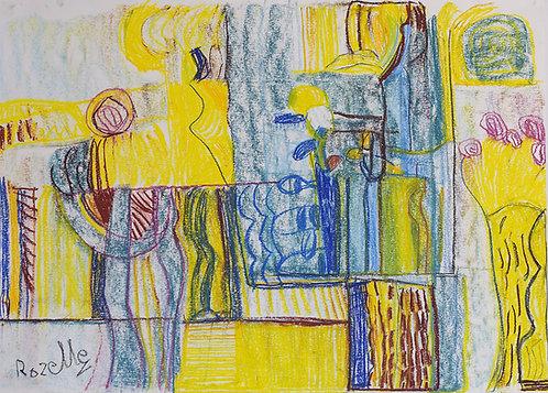 Rozette Goovaerts - Geel en blauwe compositie