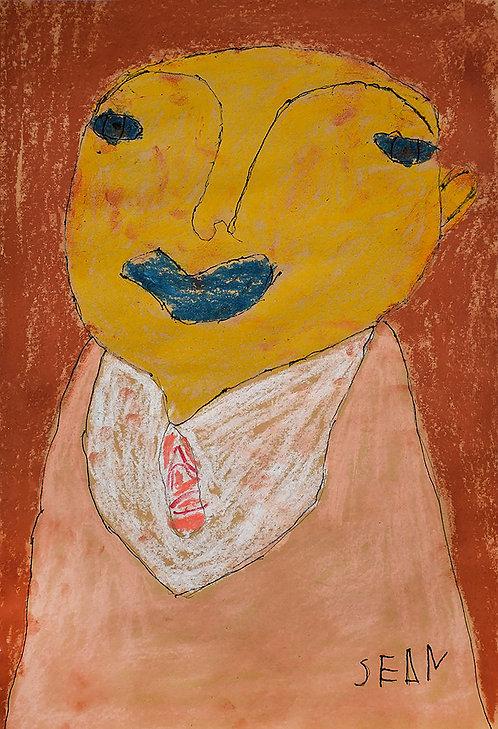 Sylvain Serneels - oranje portret op bruin