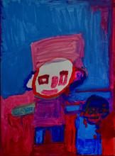 twee figuren in blauwe en rode tinten