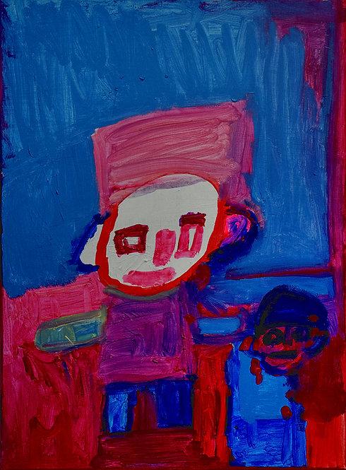 Martine Thielens - twee figuren in blauwe en rode tinten