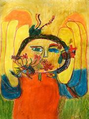 portret met bloemen