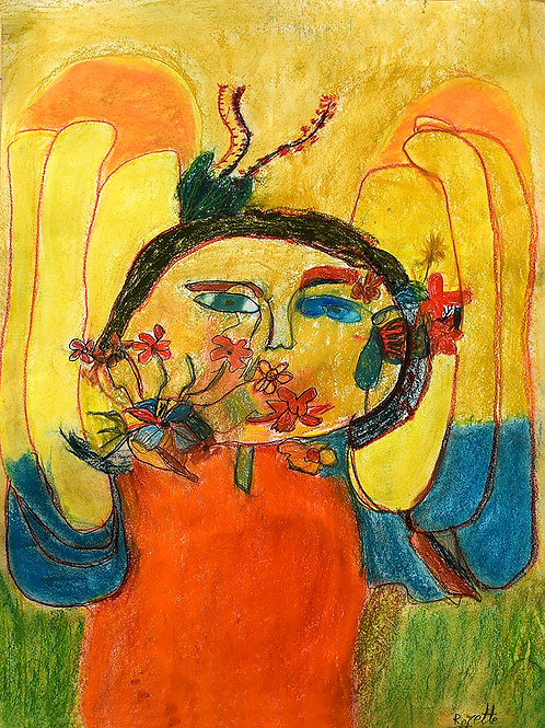 Rozette Goovaerts - portret met bloemen