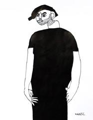 jongen met baard in zwart