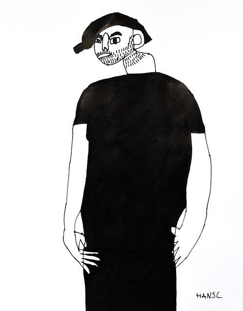 Hans Cortebeeck - jongen met baard in zwart