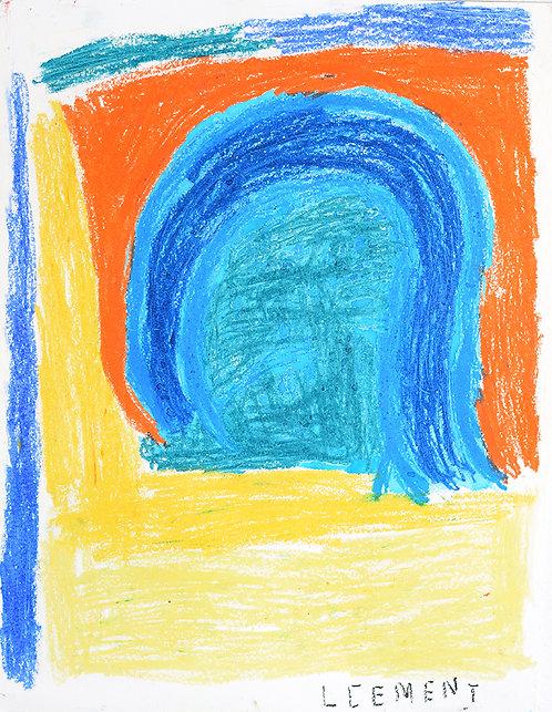 Clement Cretoir - blauwe bogen en gele grond