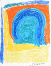 blauwe bogen en gele grond