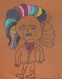 man met kleurrijke haren