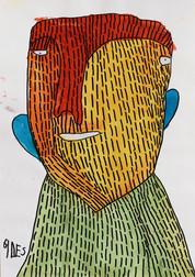Portret met rood geel en groen