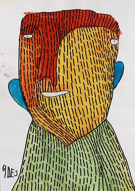 Sylvain Serneels - Portret met rood geel en groen