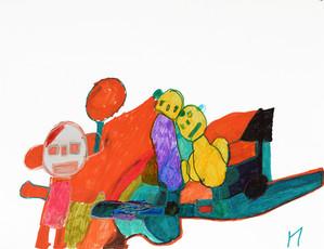 drie figuren met oranje