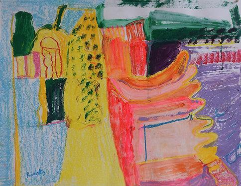 Rozette Goovaerts - Vormen in fluoroos geel en blauw