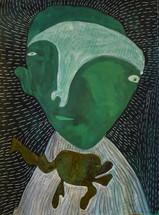 groen figuur met groene baby
