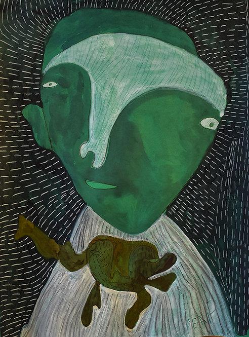 Sylvain Serneels - groen figuur met groene baby