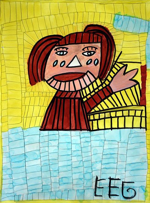 Jef Cloostermans - meisje met tranen op geel en blauw