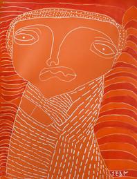 oranje figuur met rode achtergrond