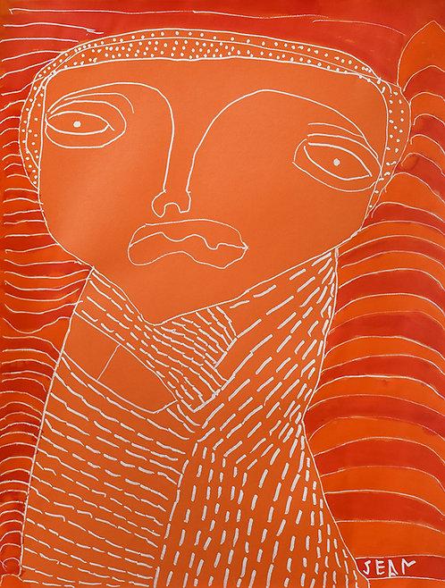Sylvain Serneels - oranje figuur op rood