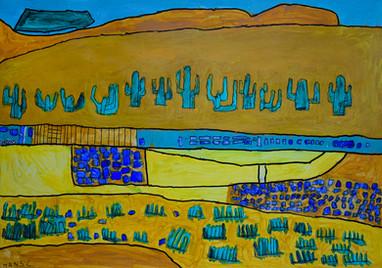 woestijn met blauwe cactussen
