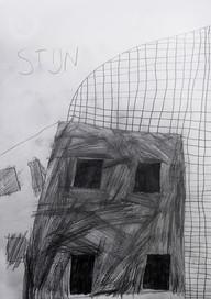 huis met vier ramen en een hek