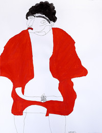 man met rode vest