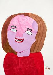 lachende vrouw met rode blouse