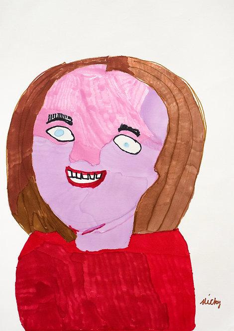 Inge Van Rompaey - lachende vrouw met rode blouse