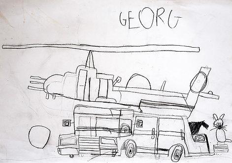 Georg Verstrepen - bus met helikopter en poes