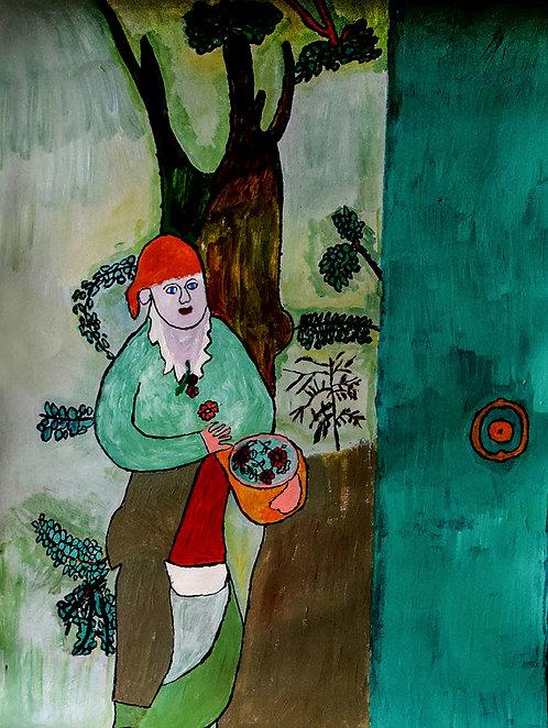 Yvonne Backs - vrouw met rode muts in het bos