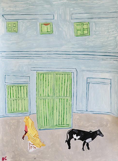 Carlo Buyck - man en koe voor huis