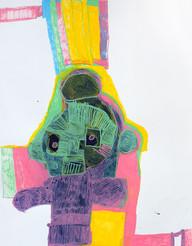 figuur in roze en groen op geel en roos vlak