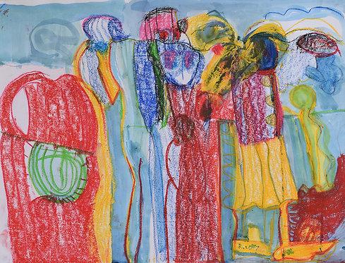 Rozette Goovaerts - Figuren in rood, blauw geel
