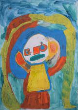 geel figuur onder regenboog