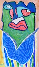 groen figuur op roze achtergrond