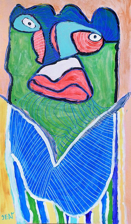Sylvain Serneels - groen figuur op roze