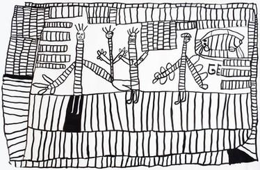 vier figuren omringd door vakjes