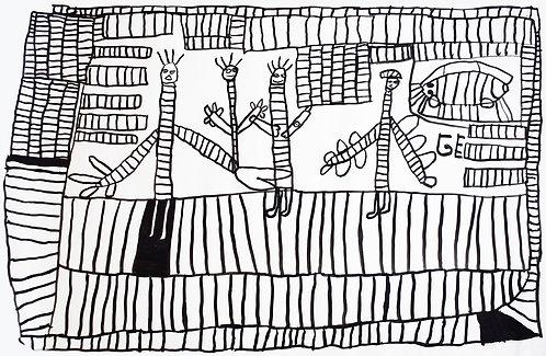 Jef Cloostermans - vier figuren omringd door vakjes