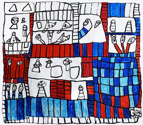 Jef Cloostermans - poezen en mensen omringd door vakjes