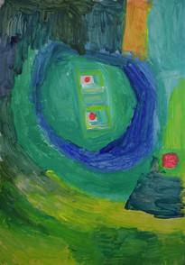 groen figuur met rode ogen