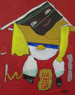 kleurrijke figuur op rode achtergrond
