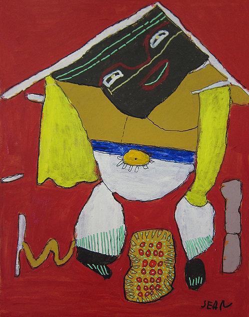 Sylvain Serneels - kleurrijke figuur op rood