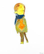 Gele man in een geel geruit pak