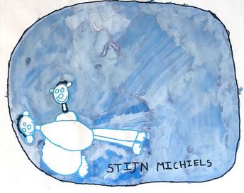 knuffelende figuren op blauwe cirkel