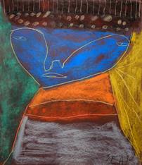 kleurrijk portret met blauw hoofd